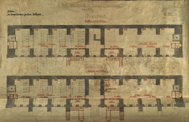 Niezrealizowany projekt adaptacji parteru i piętra Koszar Schronowych na pawilon więzienny, 1921 r.