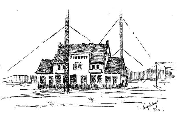 Grafika przedstawiająca budynek nowej stacji nadawczej w Jelitkowie, 1926 r.