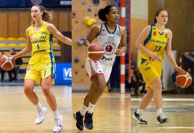 Od lewej: Alice Kunek z VBW Arki Gdynia, Jazmine Davis z DGT AZS Politechniki Gdańskiej i Marta Marcinkowska z GTK Gdynia to najskuteczniejsze koszykarki swoich zespołów w sezonie zasadniczym Energa Basket Ligi Kobiet. Odpowiednio punktowały na średnim poziomie: 16,3 / 17,3 / 11,6.