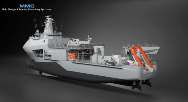 """Pod hasłem """"Ratownik"""" kryje się budowa wyspecjalizowanego okrętu ratowniczego projektu 570-II."""