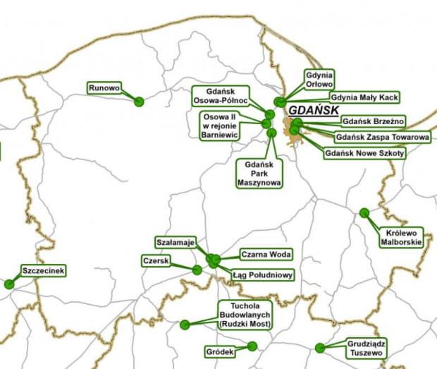 Plan budowy przystanków zapowiedziany przez Prezydenta Andrzeja Dudę w maju 2020 r.