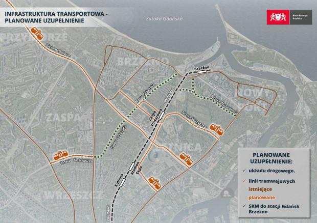Warianty nowej linii tramwajowej między Marynarki Polskiej a Hallera analizowane przez Biuro Rozwoju Gdańska.
