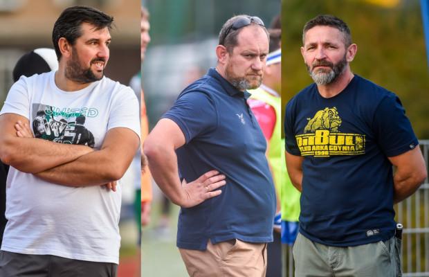Trójmiejscy trenerzy drużyn rugby w ekstralidze. Od prawej: Dariusz Komisarczuk, Karol Czyż, Jurij Buchało.