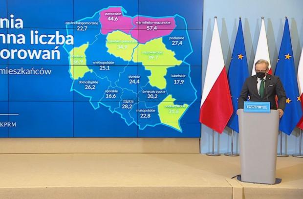 Liczba zachorowań na 100 tys. mieszkańców w poszczególnych województwach. Pomorskie jest pod tym względem na drugim miejscu.