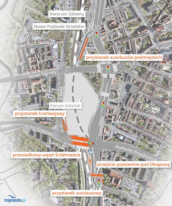 Schemat węzła integrującego komunikację w centrum Gdańska.
