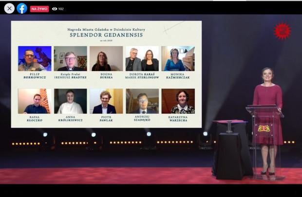Tegoroczna gala wręczenia nagród Splendor Gedanensis odbyła się online. Nominowani połączyli się z prowadzącą wydarzenie Małgorzatą Brajner za pośrednictwem internetu.