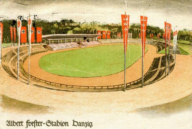 Propagandowa pocztówka prezentująca dawny stadion im. Friedrich Jahna przemianowany na stadion im. Alberta Forstera, po 1 lipca 1934 r.