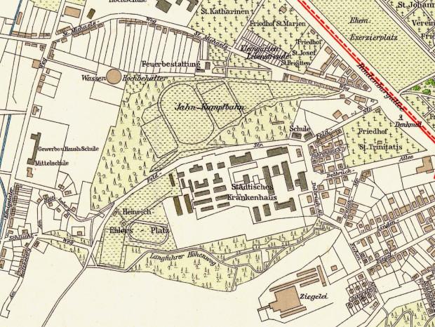 Okolice ul. M. Smoluchowskiego na planie Gdańska z 1933 r.