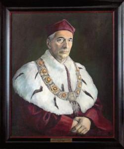 Portret prof. Sokołowskiego znajdujący się w zbiorach Uniwersytetu Gdańskiego.