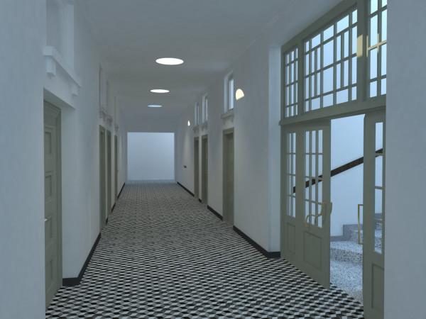 Wizualizacja fragmentu korytarza głównego Poczty Morskiej w Gdańsku.