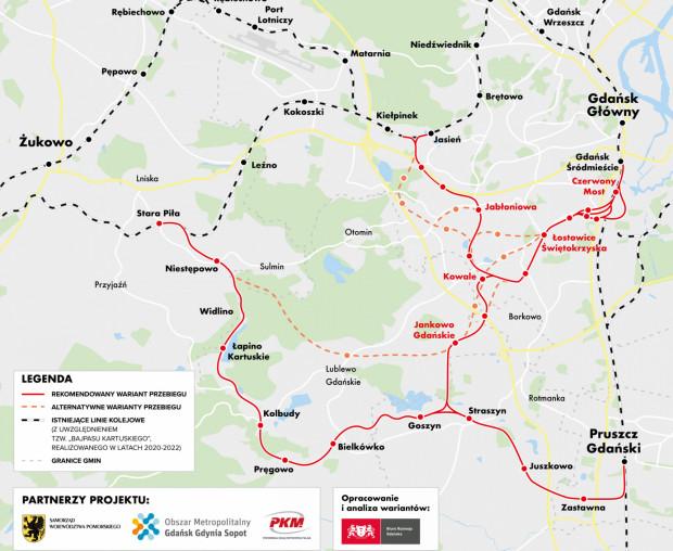 Warianty przebiegu trasy kolejowej przez Południe i z możliwością przedłużenia poza granicę Gdańska.