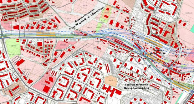 Wariant rekomendowany przebiegu wzdłuż ul. Małomiejskiej - Podmiejskiej z ominięciem zespołu przedwojennych kamienic pod numerami 17-25.