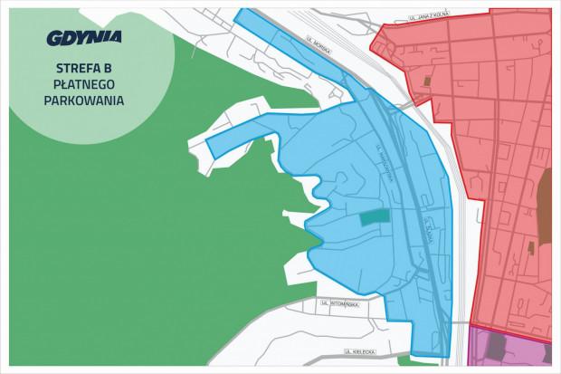 Ten obszar Działek Leśnych (na niebiesko) będzie objęty Strefą Płatnego Parkowania.