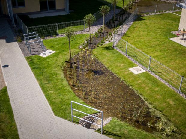 Ogrody deszczowe, znajdujące się na osiedlu Zielony Południk, spełniają wiele praktycznych oraz ekologicznych funkcji.