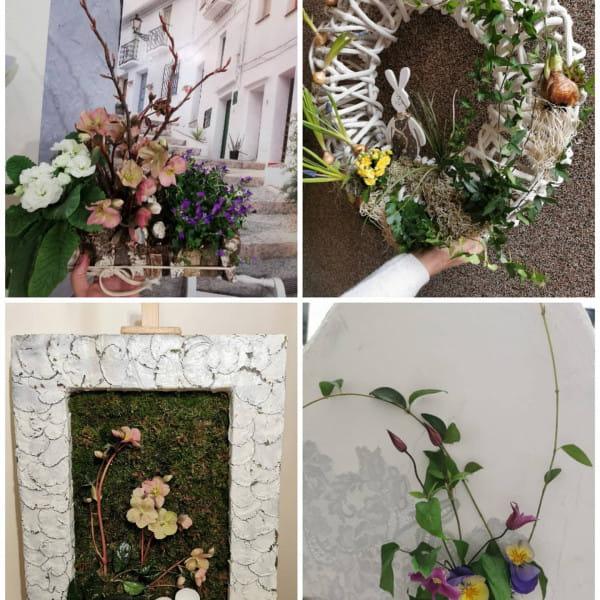 Efekty prac uczestniczek warsztatów florystycznych w studio Glorioza.