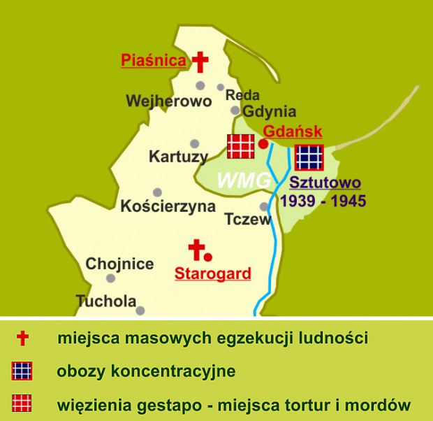 Źródło mapy:  zbrodnie niemieckie w Polsce w latach 1939-45