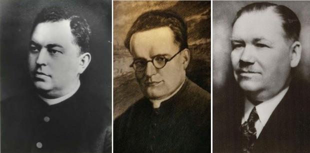 Od lewej: ks. Bronisław Komorowski, ks. Marian Górecki oraz polski poseł do gdańskiego Volkstagu Antoni Lendzion zamordowani w KL Stutthof w 1940 r.