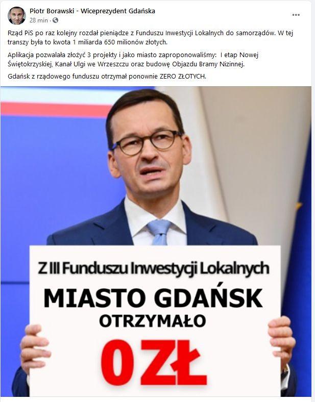 Komentarz zastępcy prezydenta Gdańska Piotra Borawskiego do decyzji rządu o kolejnym podziale środków dla samorządów.