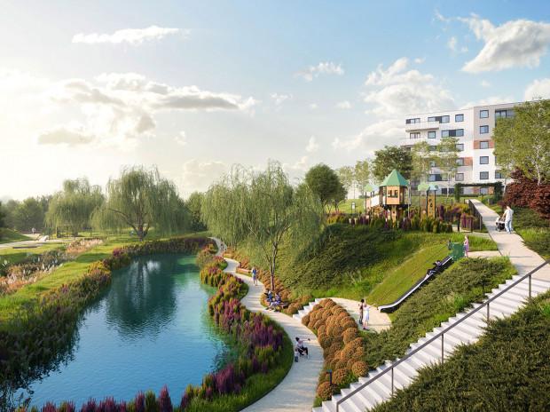 Budynki w gdańskiej inwestycji Biotura powstaną wokół stawu i zieleni.