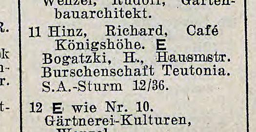 Fragment księgi adresowej Gdańska wskazującej, że w kawiarni Königshöhe rezydowali członkowie oddziału SA.