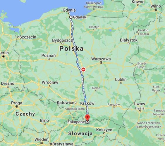 Trasa z Gdańska do Zakopanego liczy ok. 700 km.