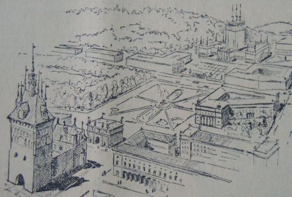 Na dole projektu widać kamienice, które miały stanąć przy Targu Węglowym.