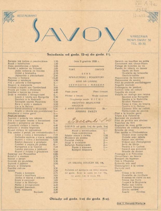 Menu warszawskiej restauracji Savoy z 1928 r. Był to lokal I kategorii, w którym żywili się najzamożniejsi - m.in. lekarze, adwokaci i bandyci.