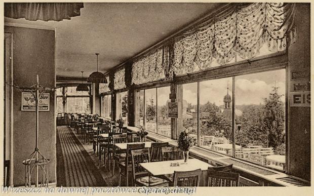 Wnętrze Café Zinglershöhe na wrzeszczańskim wzniesieniu zwanym Górą Jana (Johannisberg). Ok. 1929 r.