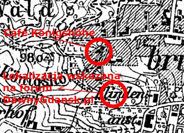 Fragment planu Gdańska z 1918 r. z zaznaczoną błędną oraz prawdziwą lokalizacją Cafe Königshöhe.
