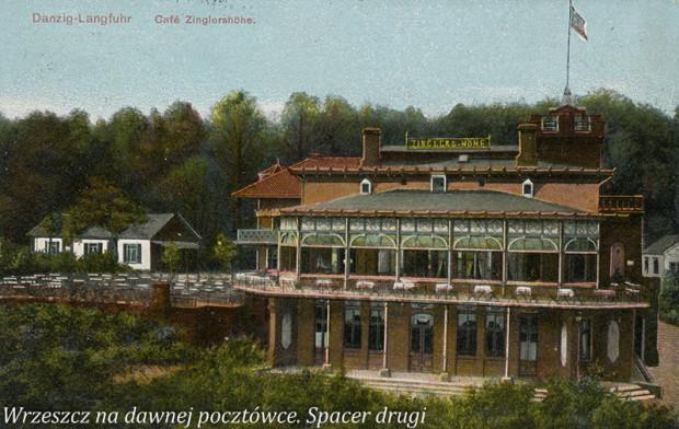 """Budynek Café Zinglershöhe widziany od strony Am Johannisberg (ul. Sobótki) między 1901 a 1914 r. [źródło: """"Wrzeszcz na dawnej pocztówce. Spacer drugi""""]."""