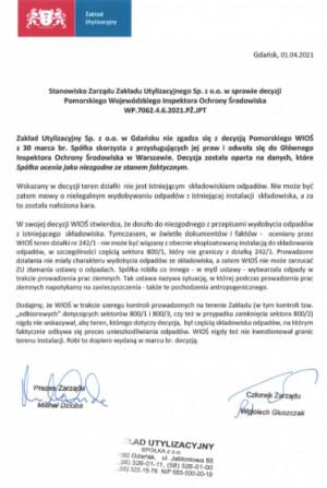 Oświadczenie władz Zakładu Utylizacyjnego ws. nałożenia kary przez WIOŚ.