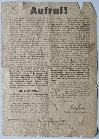 Zdjęcie oryginalnej odezwy Alberta Forstera z 22.02.1942 r. znalezionej na strychu i wystawionej na Allegro w grudniu 2020r.