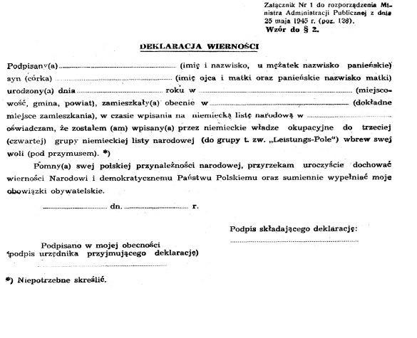 Powojenne polskie dokumenty przeznaczone dla osób, które po wpisaniu w czasie wojny na volkslistę deklarowały wierność Polsce.