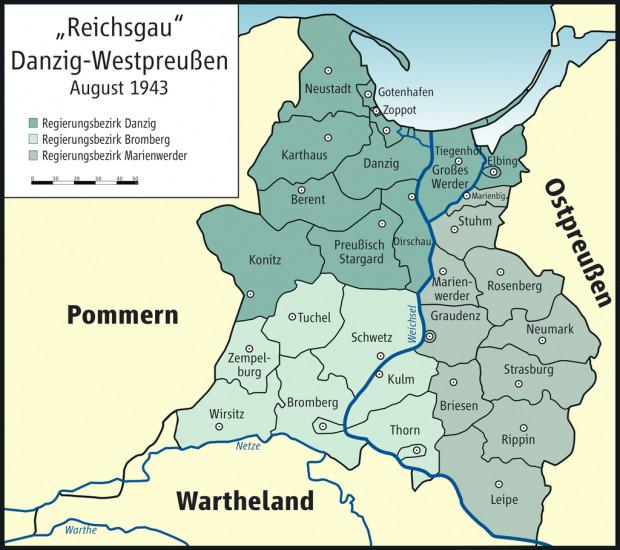 Mapa Okręgu Gdańsk-Prusy Zachodnie z podziałem administracyjnym obowiązującym w  sierpniu 1943 r. Okręg był podzielony na trzy rejencje: gdańską, bydgoską i kwidzyńską.