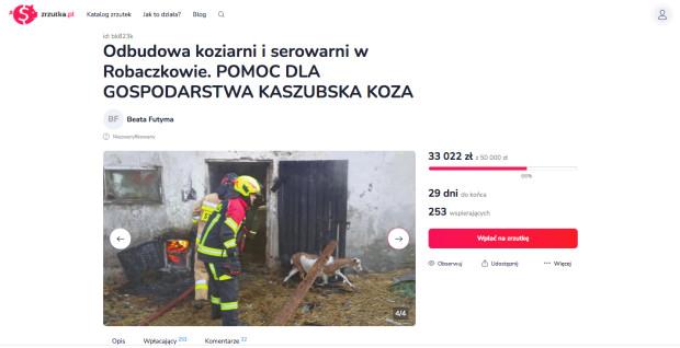 Screen z serwisu zrzutka.pl, na którym przyjaciele Kaszubskiej Kozy zbierają pieniądze na odbudowę gospodarstwa.