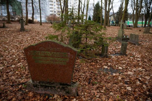 Na zdjęciu groby położone w kwaterze pomiędzy ul. Słowackiego a kościołem.