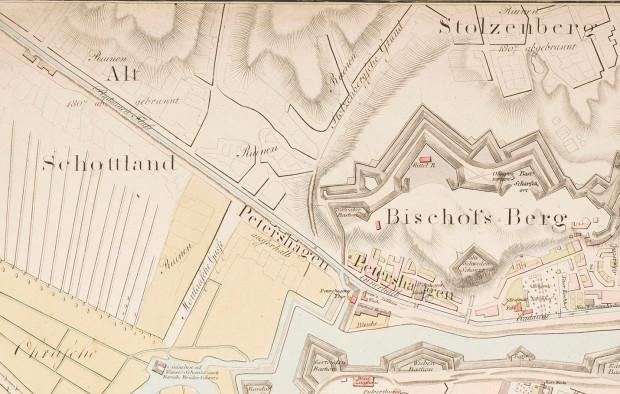 Fragment tzw. planu Gersdorffa z 1822 r. Widoczne są na nim zniszczenia przedmieść.
