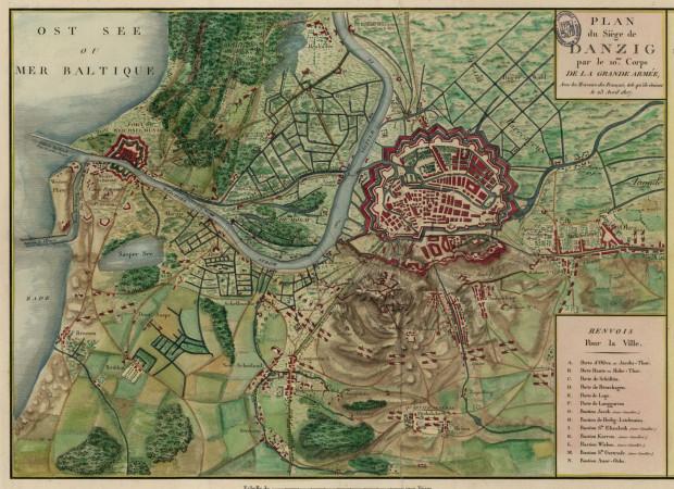 Plan oblężenia Gdańska w 1807 r.