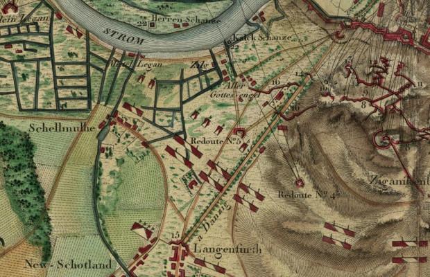 Wielka Aleja - zbliżenie planu oblężenia Gdańska z 1807 r.