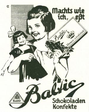 """Reklama """"Czekolady Koronnej"""" fabryki Baltic."""