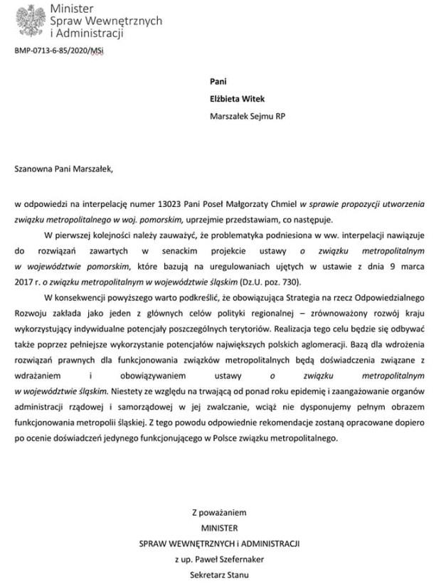 Odpowiedź na interpelację ws. utworzenia Związku Metropolitalnego na Pomorzu.