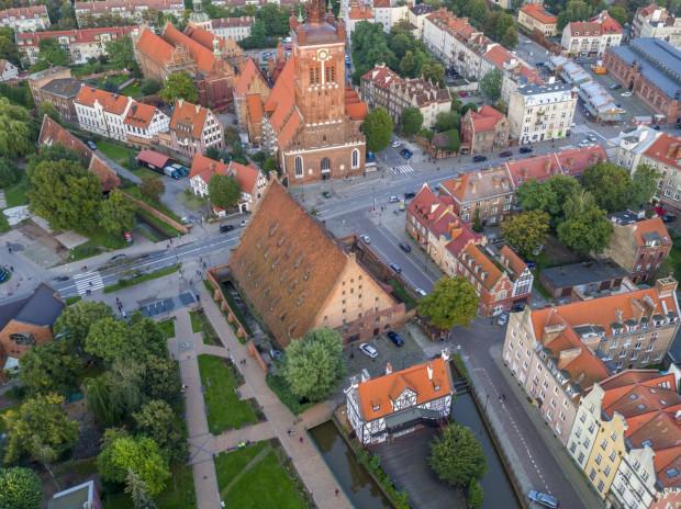 Wielki Młyn - nowa siedziba Muzeum Bursztynu - z lotu ptaka.