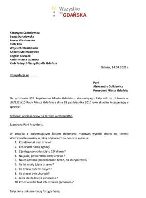 Interpelacja radnych ws. wycinki na Westerplatte.