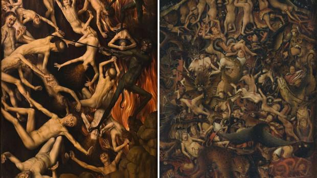 """Porównanie fragmentów obrazów """"Sądu Ostatecznego"""" Memlinga (po lewej) oraz """"Ukrzyżowania i Sądu Ostatecznego"""" van Eycka."""