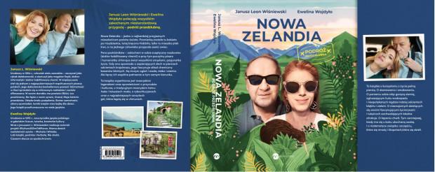 """Cała okładka książki """"Nowa Zelandia"""": stronica tytułowa, tył oraz skrzydełka okładki."""