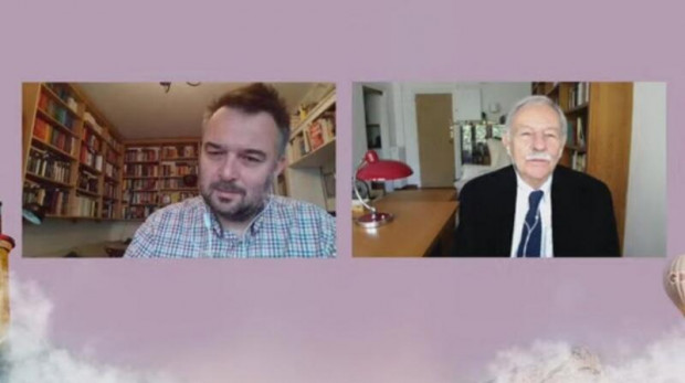 Screen ze spotkania Tomasza Pindela z Eduardo Mendozą.
