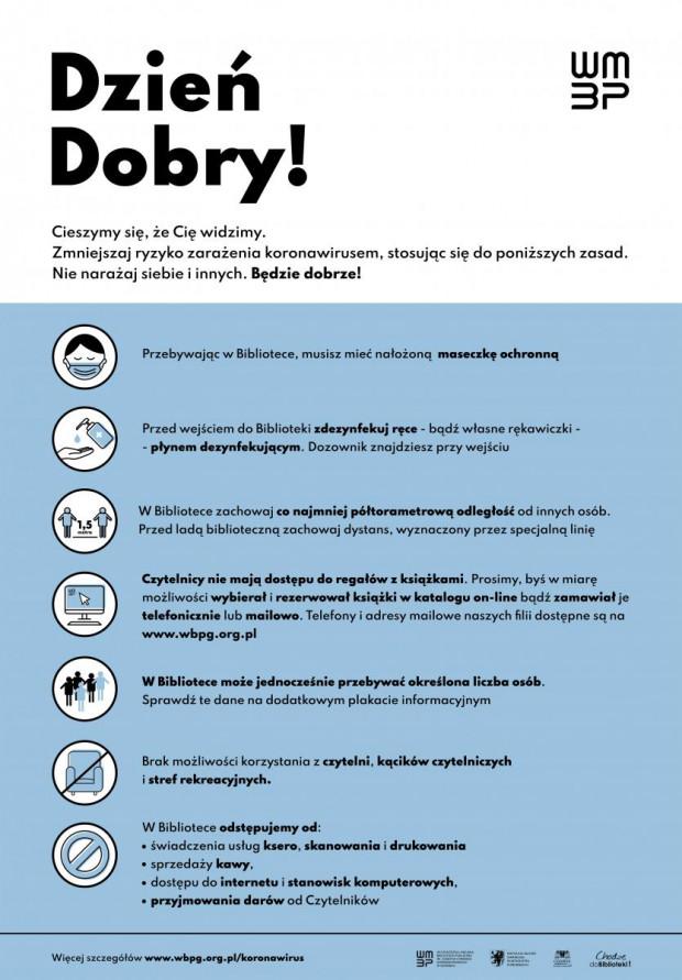 Zasady obowiązujące w Wojewódzkiej i Miejskiej Bibliotece Publicznej w Gdańsku związane z bezpieczeństwem w czasie pandemii.