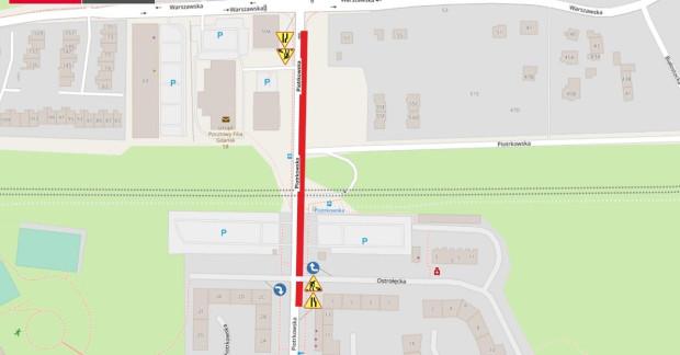 Zmiany w organizacji ruchu na ul. Piotrkowskiej na Ujeścisku. Czerwoną linią oznaczona tymczasowa jezdnia z płyt betonowych.