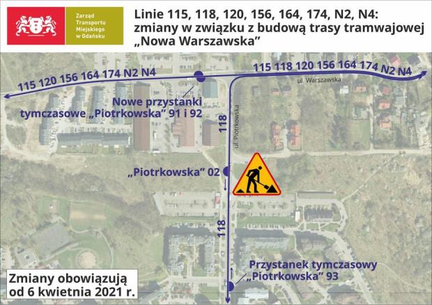 Numerami 91, 92 i 93 oznaczono nowe przystanki autobusowe, które pojawiły się z powodu likwidacji pętli przy ul. Piotrkowskiej.