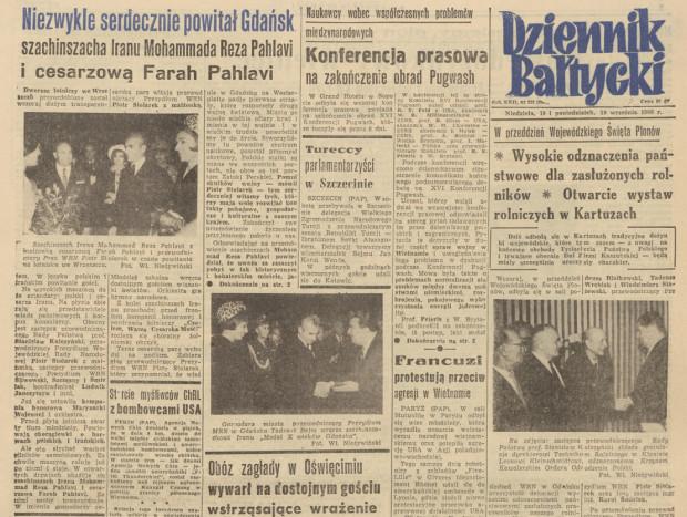 """O pierwszej wizycie szachinszacha obszernie informował """"Dziennik Bałtycki"""" na pierwszej stronie wydania z 18-19 września 1966 roku."""